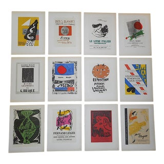 Mid Century Color Lithographs-Picasso, Miro, Chagall, Braque and Matisse-Printed by Mourlot - Set of 12 For Sale