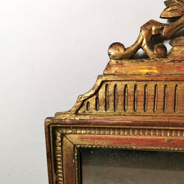 1750 French Louis XVI Gold Leaf Wood Mirror For Sale - Image 6 of 13