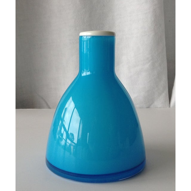 Mid Century Kastrup Holmegaard Blue Cased Glass Vase Chairish