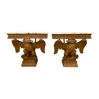 Continental Eagle Form Console Tables - A Pair For Sale