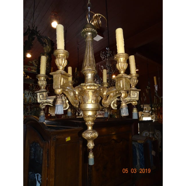 18th Century Italian Gilt Wood Chandelier For Sale - Image 13 of 13