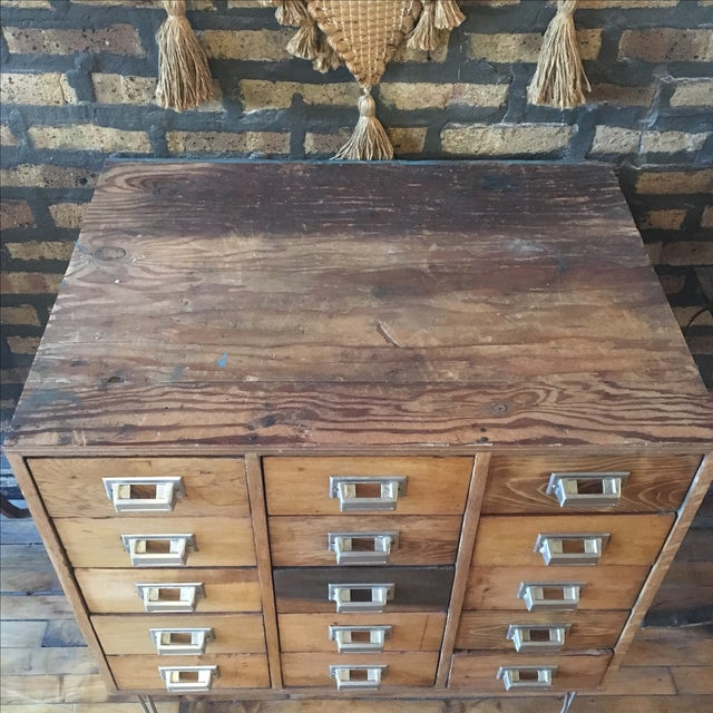 15 Drawer Card Catalog on Hairpin Legs For Sale - Image 7 of 11