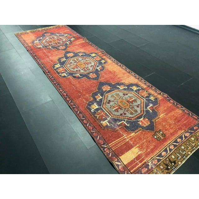 Purple Boho Decorative Orange and Purple Turkish Handmade Vintage Runner Rug For Sale - Image 8 of 11