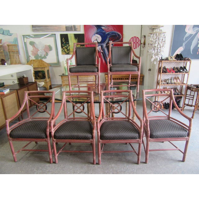 "McGuire set of 6 rattan Target Chairs. They measure 36"" H X 23"" W X 17"" D. The seat measures 19"" and the arms are 25"" THey..."