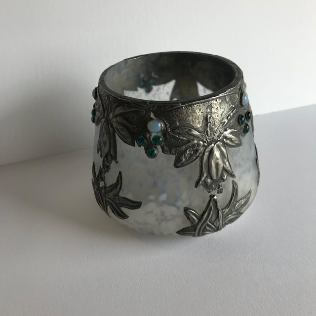 Art Glass Vase With Silvered Metal Overlay For Sale - Image 4 of 7