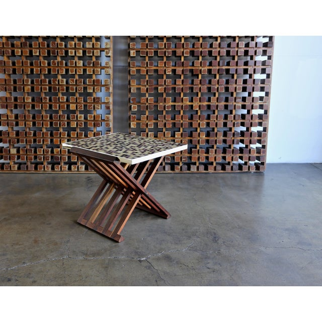 Mid Century Edward Wormley X-Base Rosewood and Murano Tile-Top Table For Sale - Image 12 of 12
