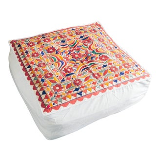 1970s Vintage Indian Embroidered Floor Cushion Cube Pouf For Sale