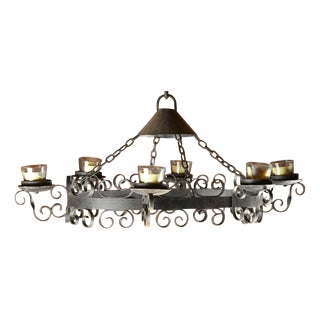 Large Wrought-Iron Candle Chandelier
