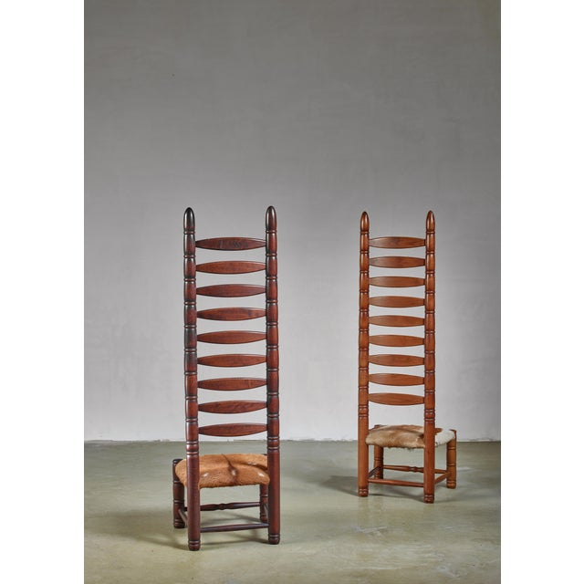 Boho Chic Pair of High Back Ladder Chairs With Goatskin Seating, 1960s For Sale - Image 3 of 5
