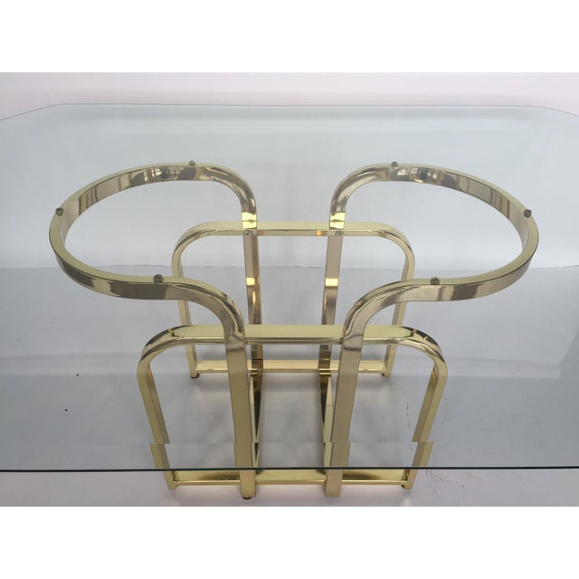 Glam Sculptural Glass & Brass Dining Table - Image 4 of 5