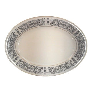 Riviera Oval Ivory and Black China Serving Platter For Sale