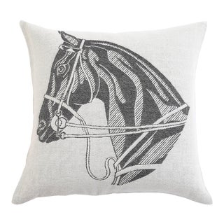 Stick & Ball Horse Head Alpaca Pillow in Charcoal For Sale