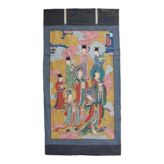 Large Chinese Canvas Art of Ancient Mythical Lin Mo and Princess Aurora For Sale