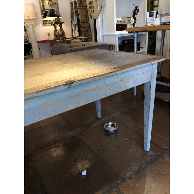 Antique Painted Wood Continental Table With Patina and Two Drawers For Sale - Image 10 of 13