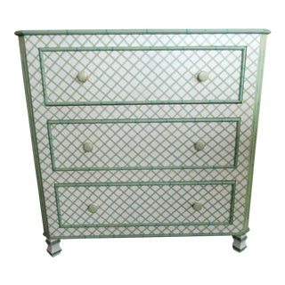 Cottage Chest With Green Lattice Painted Design For Sale