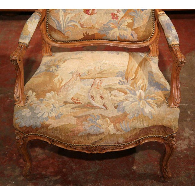White 19th Century French Louis XV Carved Walnut Armchair With Aubusson Tapestry For Sale - Image 8 of 11