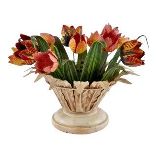 1960s Vintage Tole Tulip Basket Candleholder For Sale