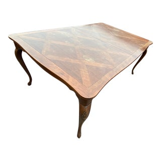 1980s Neoclassical Baker Dining Table Wood Inlay and Two Leaves For Sale