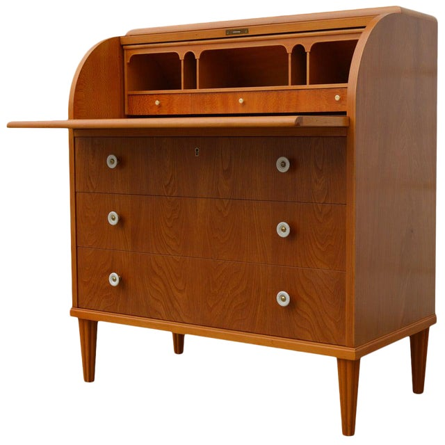 Swedish Art Moderne Elm Roll-Top Secretary Writing Desk For Sale