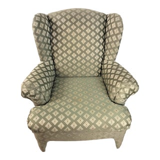 1980s Vintage Sea Green Upholstered Japanese Satin Brocade Wing Back Chair For Sale