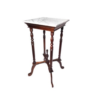 1900s Victorian Elegant Tall Marble Top Wooden Accent Table For Sale