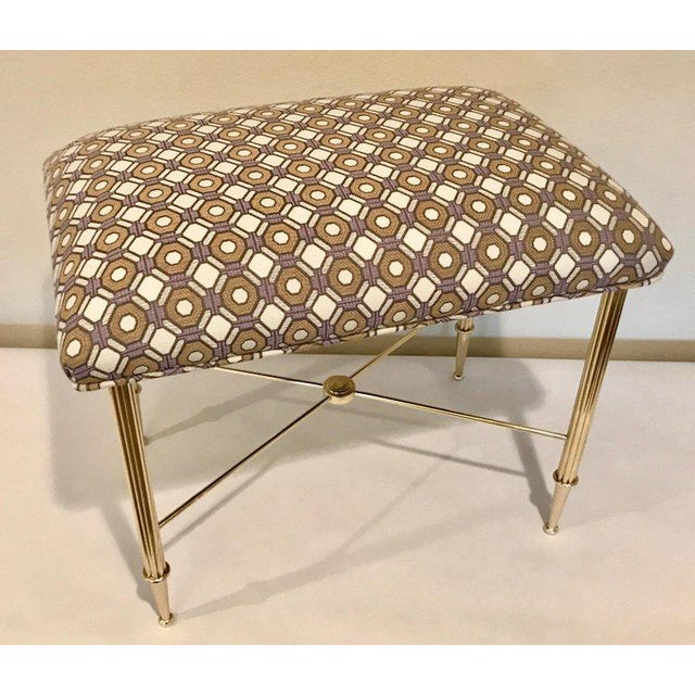 Brass French Upholstered Brass With Reeded Legs Bench / Stool For Sale - Image 7 of 13