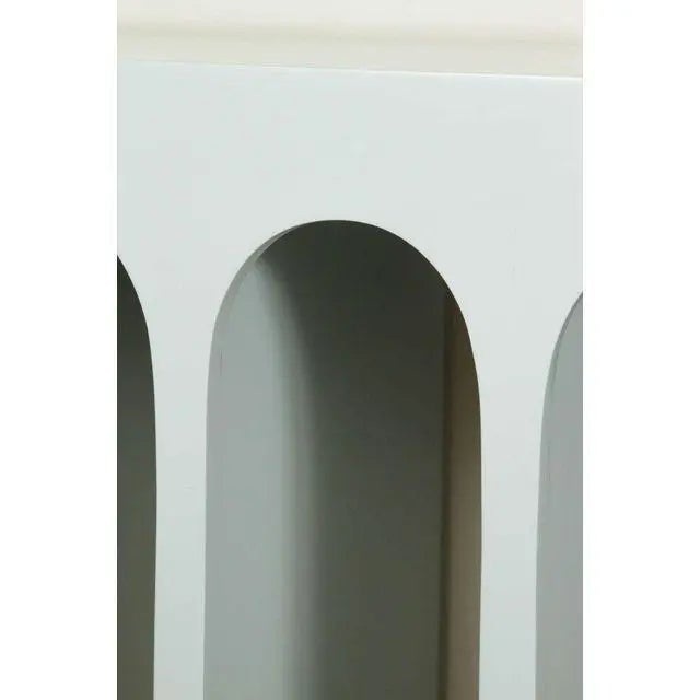 Contemporary Minimalist Curved Front Console With Arches in Hedge Green by Martin and Brockett For Sale - Image 3 of 6