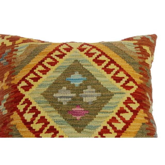 "Cherise Rust/Gold Hand-Woven Kilim Throw Pillow(18""x18"") For Sale - Image 4 of 6"