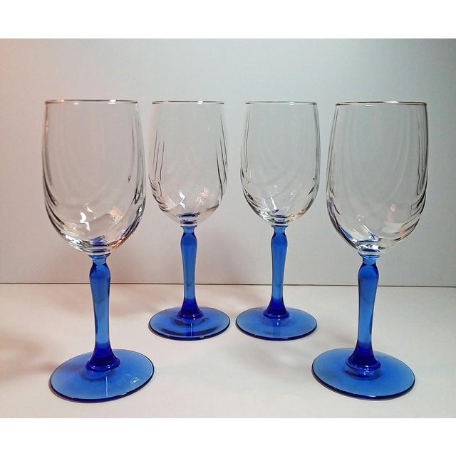 Set of 4 vintage 1980's Lenox swag pattern crystal wine goblets with cobalt blue glass stems and gold rims. Gorgeous,...