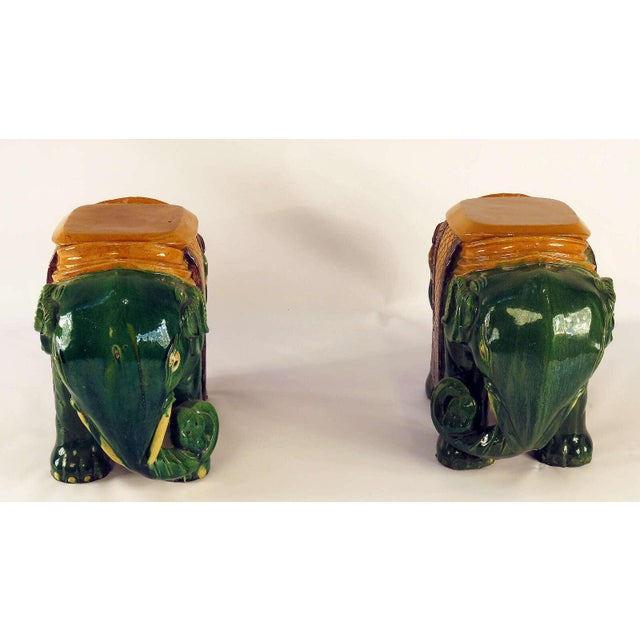 Circa 1850 Ching Dynasty Green Glazed Elephant Garden Seats - A Pair For Sale In San Francisco - Image 6 of 7
