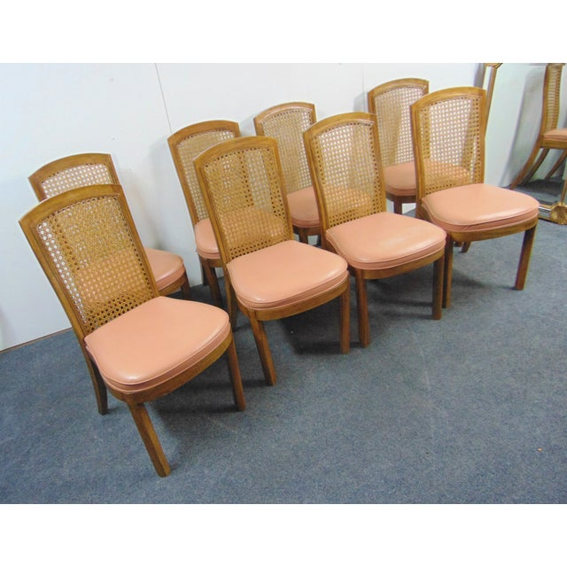 Mid-Century Modern Drexel Mid Century Modern Fruitwood Caned Dining Chairs - Set of 8 For Sale - Image 3 of 7