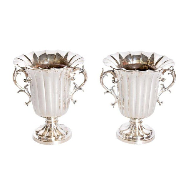 Mid-19th Century Pair of Silver Plate Ice Vases by Elkington & Co., England For Sale - Image 13 of 13