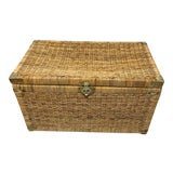 Image of 1970s Vintage Wicker Rattan Trunk For Sale