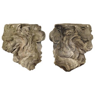 Magnificent Pair of Antique Stone French Lion Architecturals For Sale
