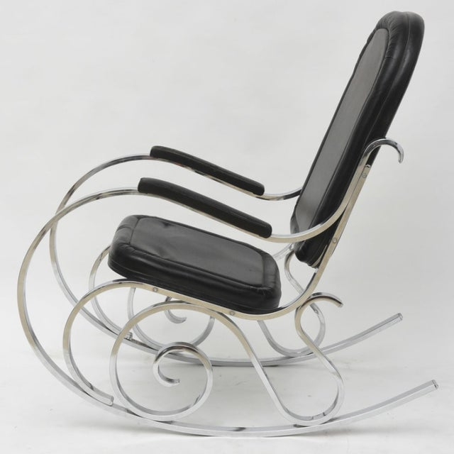 Art Deco French Modern Polished Nickel Rocking Chair, Maison Jansen For Sale - Image 3 of 4
