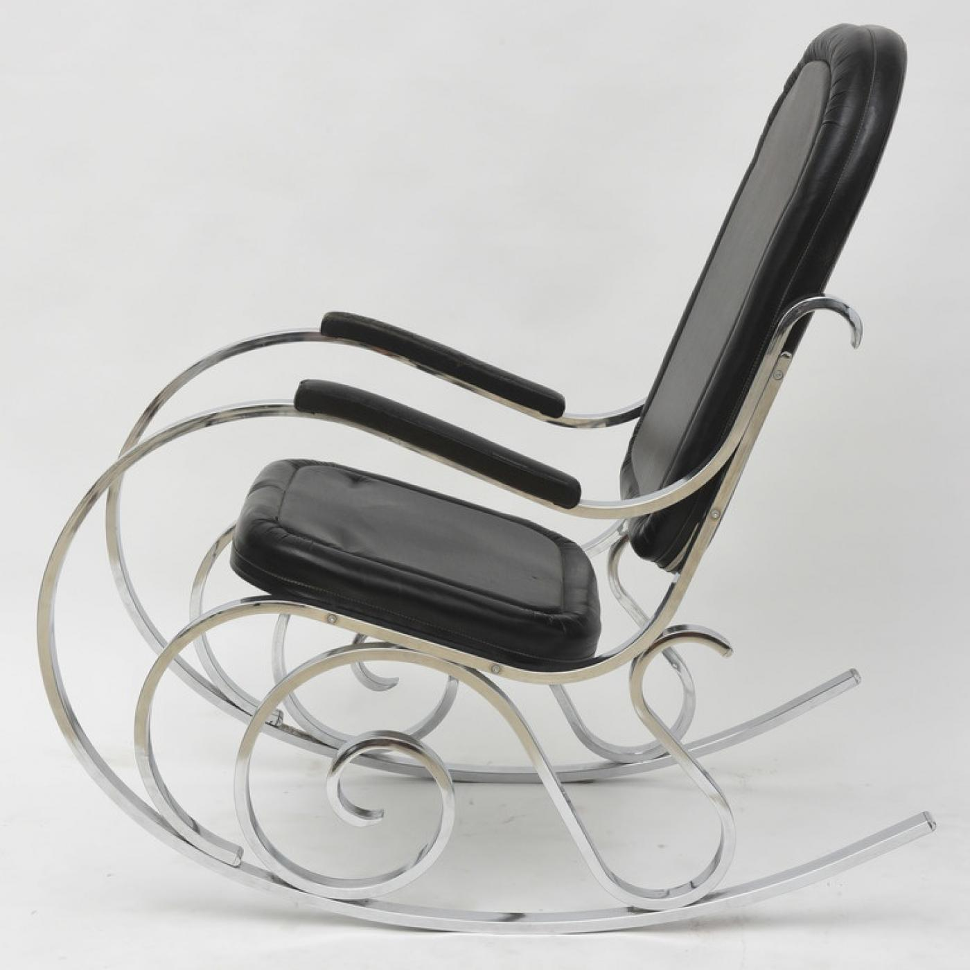 French Modern Polished Nickel Rocking Chair, Maison Jansen   Image 3 Of 4