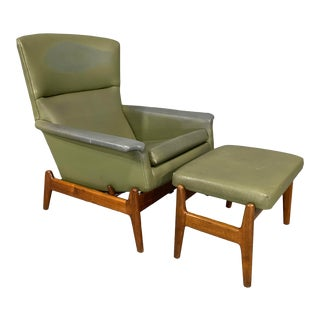 Mid-Century Modern Recliner and Ottoman by Folke Ohlsson for Dux in Teak - a Pair For Sale