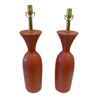 1970s Modern Pink Solid Oak Urn Form Table Lamps - A Pair For Sale
