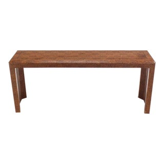 Vintage Mid Century Grass Cloth Covered Console Table For Sale