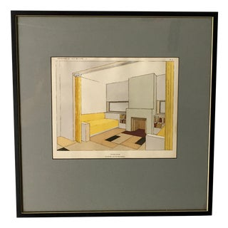 French Mid-Century Living Room Design Lithograph For Sale