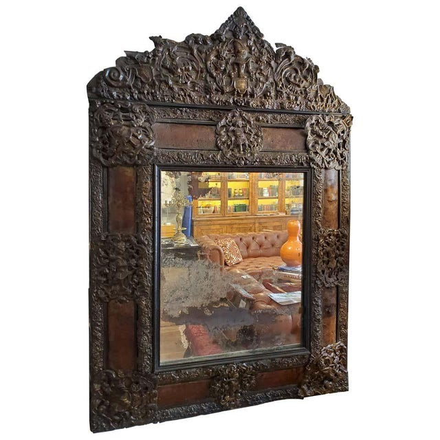 17th Century Cushion Moulded Dutch Mirror For Sale - Image 9 of 9