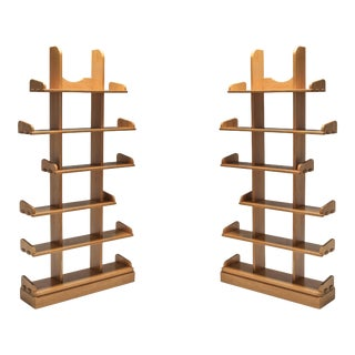 1970s Oak Étagère Shelving Units - a Pair For Sale