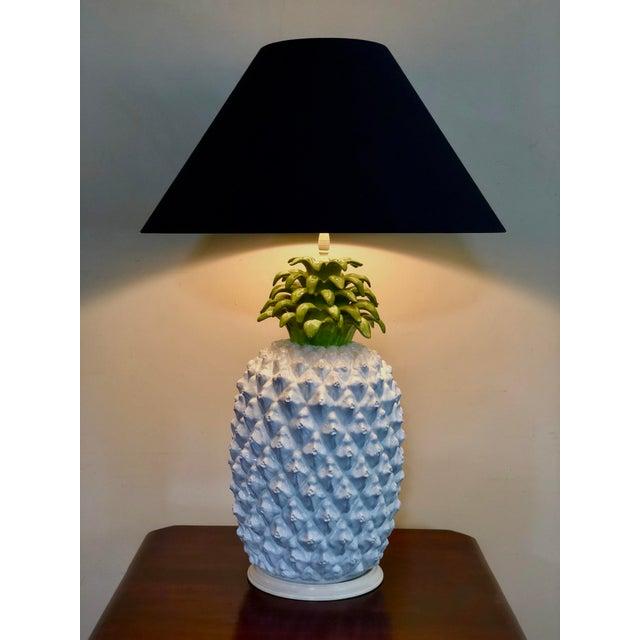 Mid Century Italian Majolica Pineapple Table Lamp For Sale - Image 4 of 11