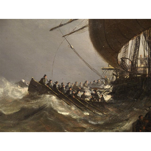 Gray Antique Oil on Canvas Marine Painting From Normandy France, 1883 For Sale - Image 8 of 13