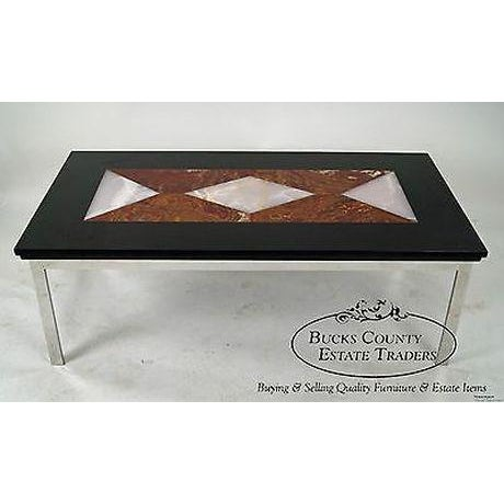 Mid Century Modern Chrome Base Coffee Table W Geometric Colored Marble Top