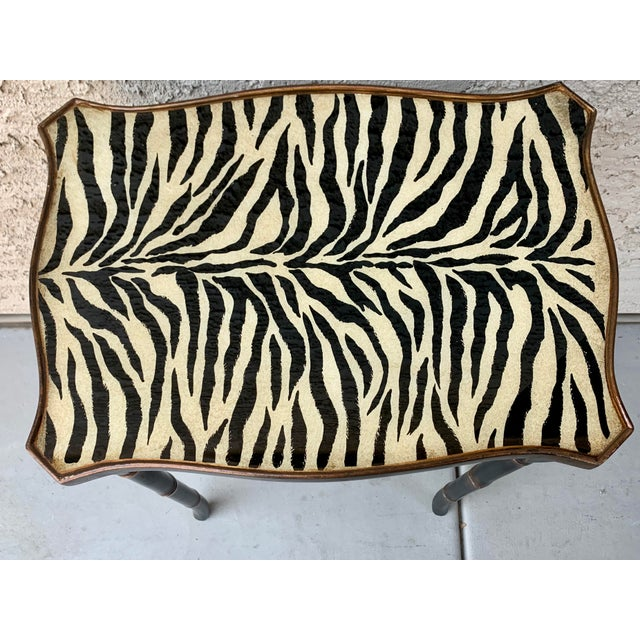 Safari Style Faux Bamboo Resin Nesting Tables - Set of 3 For Sale - Image 10 of 12
