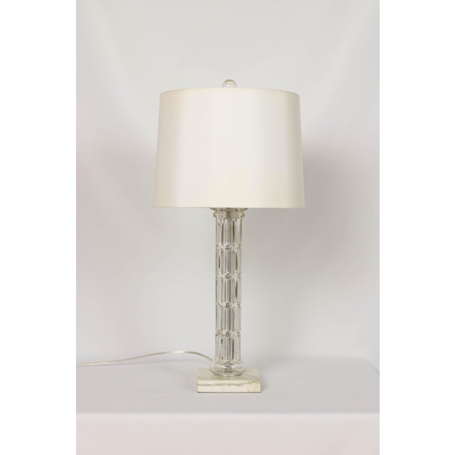 Glass Column Table Lamp with a White Marble Base. Completely restored. Glass and base have been cleaned and all metal...