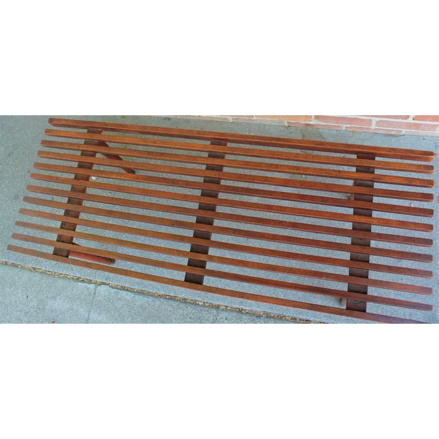Wood Mid-Century Modern Walnut Slat Bench/Coffee Table For Sale - Image 7 of 11