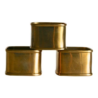 Mid 20th Century Hollywood Regency Vintage Brass Square Napkin Rings - Set of 4 For Sale