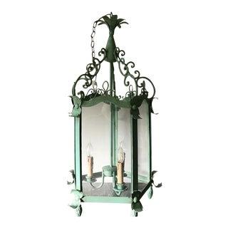 Mid Century Tall Hexagonal Italian Three Light Lantern Pendant Lamp Castle Lantern For Sale